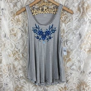 American Eagle Striped Floral embroidered tank top